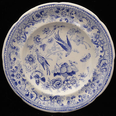 Rare Pearlware Blue Miniature Plate FRUIT BIRD BUTTERFLY 1840 Charles Meigh
