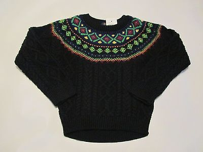 NWT girl's size 5 POLO RALPH LAUREN black cable knit cotton sweater