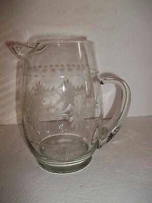 Vintage Quality Crystal Floral Etched Glass Water Pitcher Applied Handle Ice Lip