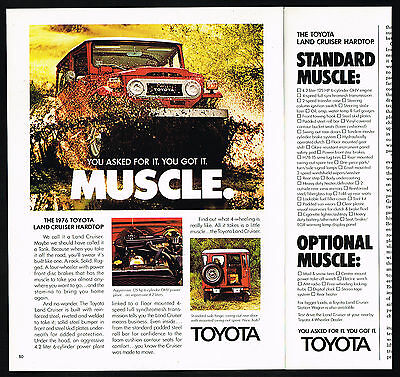 1976 Toyota Land Cruiser Hardtop 3 Photo Muscle 1 1/3 Page Vintage Print Ad
