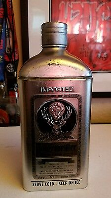 Limited Edition Jagermeister Metal Bottle Cover Tin Silver Black Accents w/Bag!!
