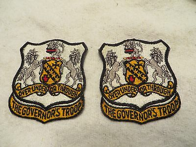 Vintage Lot of 2 Military Over Under or Through The Governor's Troop Patch