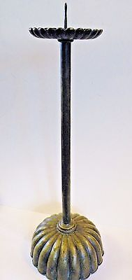 JAPANESE BRONZE ANTIQUE MEIJI PRICKET CANDLESTICK, 20 inches high, lotus cup