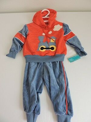 Vintage 1980s JCPenney Clothing Train Outfit Hoodie NWT Toddletime sz 1 12M Boys