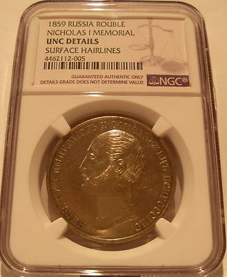 Russia 1859 Silver Rouble NGC UNC Nicholas I Memorial