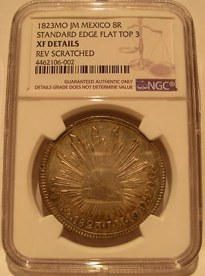 Mexico 1823 MO JM Silver 8 Reales NGC XF 'Hookneck' Standard Edge Flat Top 3
