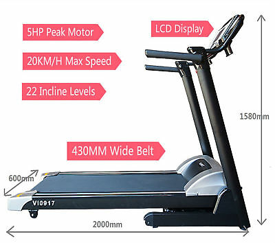 Treadmill 5Hp Peak Power 22 Inclines 430Mm Wide Belt 20Km/h Max Speed