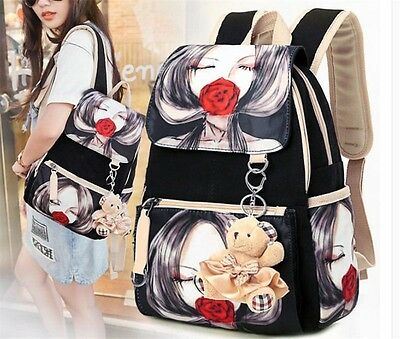 1pc Girls Cute Girl/Rose Pattern Canvas Backpack Fashion Travel Bag School Bags