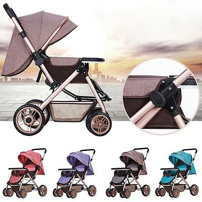 Latest Baby Stroller Foldable Canopy Pushchair Children Bi-Direction Pram Buggy
