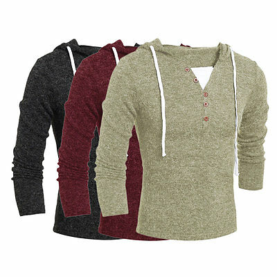 Men Fashion Casual V Neck Long Sleeve Solid Slim Knitting Male Hooded Sweater U@
