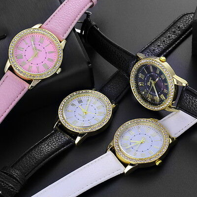 Womens Fashion Bling Crystal Faux Leather Strap Analog Quartz Wrist Watch U@