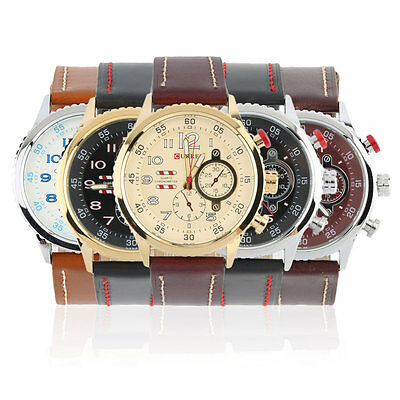 CURREN8179 3D Fashion Men's Leisure Leather Steel Casual Quartz Wristwatch U@