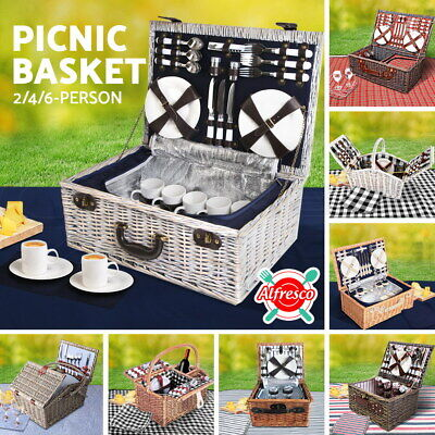 NEW Deluxe 2 & 4 Person Picnic Basket Baskets Insulated Bag Set Gift Blanket