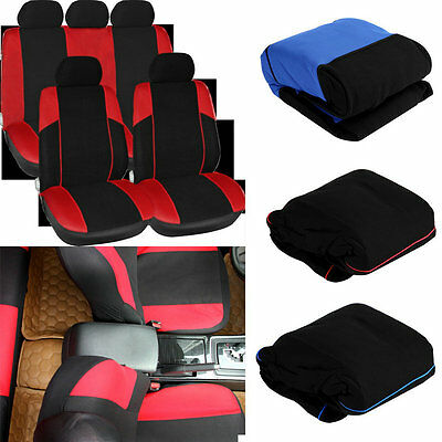 11 pcs Full Seat Cover Set Car Seat Cover Low Front Back Set Black + Red Edge U@