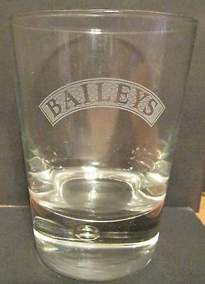 """Baileys  Bubble Bottomed With Etched Facing Glass   4 1/4"""" Tall   8 Oz"""