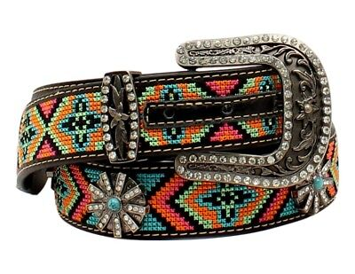 Blazin Roxx Western Belt Womens Beaded Aztec Multi-Color N3522601