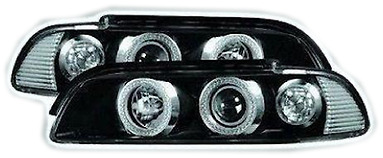 New Black Ultra Power BMW 5 Series E39 Ring Projector Angel Eye Front Headlights