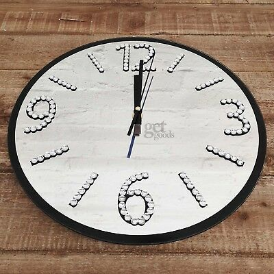35cm Glass Black Mirror Diamante Wall Clock Round Large Modern Kitchen Mechanism