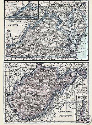 1927 Map United States NJ MD DE VA WV Lithograph 4 Maps by C S Hammond & Co