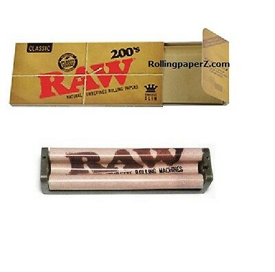 RAW Classic King Size Slim FLAT PACK - 200 COUNT Rolling papers + 110mm ROLLER
