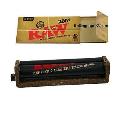 RAW Classic King Size Slim FLAT PACK 200 COUNT Rolling papers +ADJUSTABLE ROLLER