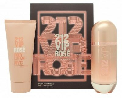Carolina Herrera 212 Vip Rosé Gift Set 80Ml Edp Spray + 100Ml Body Lotion. New