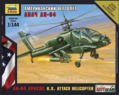 Zvezda Model Kit - US AH-64 Apache Attack Helicopter - 1:144 Scale - 7408 - New