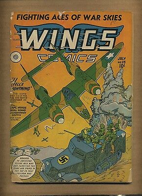 Wings Comics 35 (FR) 1943 Fiction House Classic WWII Nazi cover! (c#08687)