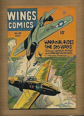 Wings Comics 63 (FN-) 1945 Fiction House Clipper Kirk WWII cover! (c#08724)