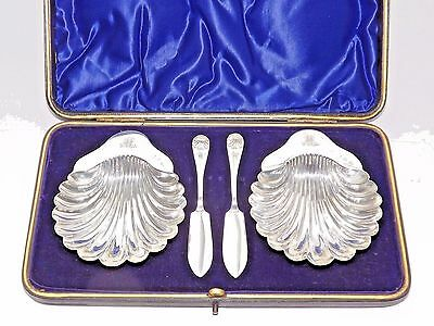 Antique George Unite Solid Silver Sterling Pair Of Butter Dishes Cased Bhm 1900