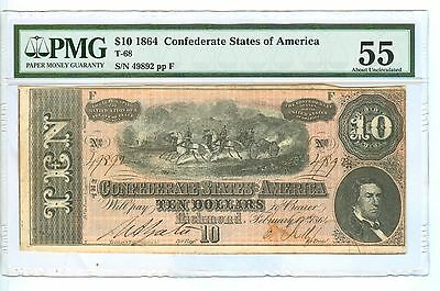 1864 Ten Dollars Confederate States Of America Note-Pmg-55 About Uncirculated