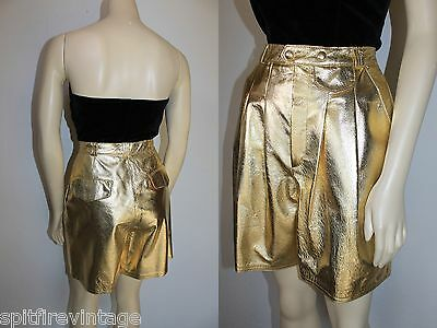 Vintage 80s shiny Metallic Gold LEATHER High Waist SHORTS Deadstock MINT! S/6