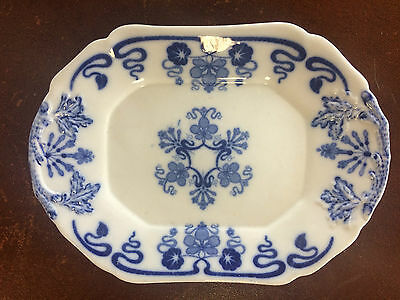 BWM & Co Cauldon Kings Lynn Blue & White Serving Plate for Gravy Boat c1860
