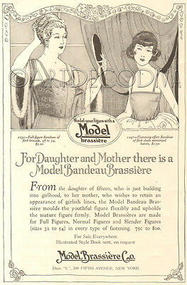 Antique 1920 Model BRASSIERE Co. Mother Daughter Lingerie Fashion Women's Ad
