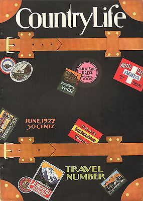 VTG Country Life STEAMER TRUNK Travel Sticker Hotel Label LUGGAGE Cover Art WOW!