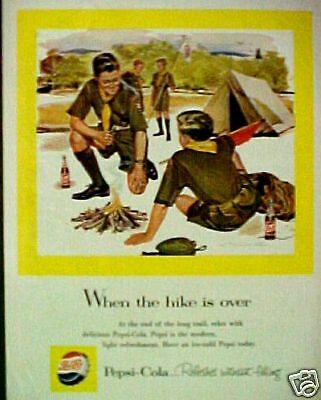 1958 Pepsi-Cola Soda-Pop Boy Scouts Camping When The Hike is Over Vintage AD