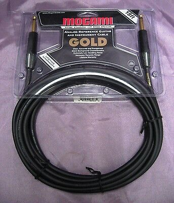 Mogami Gold Instrument 18 Guitar / Instrument Cable Straight Ends 18' NEW SEALED