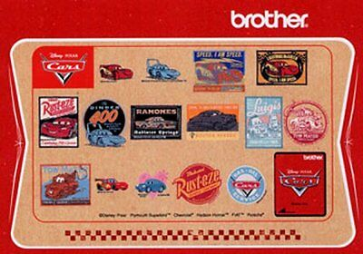 Brother Memory Card Featuring Disney's PIXAR CARS Embroidery Designs NEW!