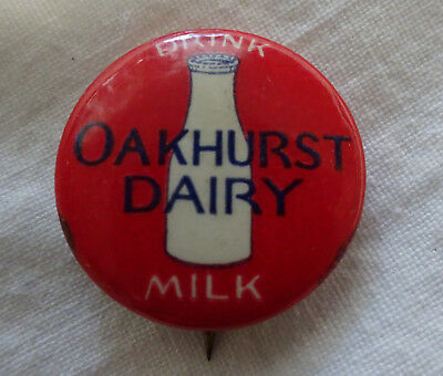 Vintage OAKHURST Dairy Portland Maine Drink MILK Celluloid Pin Bastian Bros