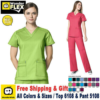 WonderWink Flex [XXS-3XL] Women's Scrubs Set Medical Top Bottom Work Uniform