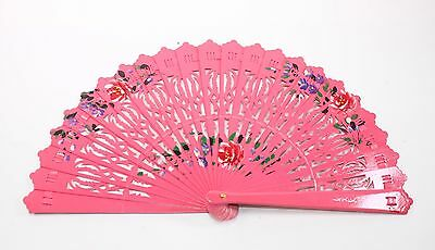 Pink Double Sided Wooden Spanish Floral Print Hand Folding Fan Party Gift