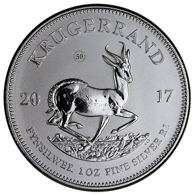 2017 South Africa 1 oz Silver Krugerrand First Year Type Low Mintage GEM UNC