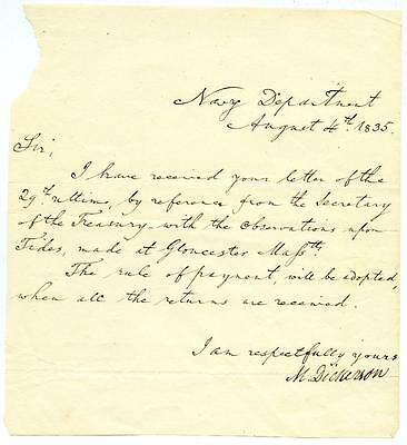 Mahlon Dickerson Autograph Letter 7th Governor of New Jersey Secretary of Navy
