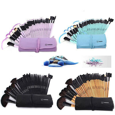 32Pcs Professional Kabuki Make Up Brush Set and Cosmetic Brushes With Case New