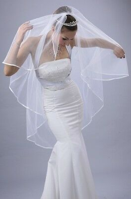 Bridal Wedding Veil Ivory 1 Tier Long Knee Length  With Pencil Edge