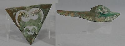 2 Ancient Antique Chinese Bronze Fragment Artifacts, Buckle? & Camels NR