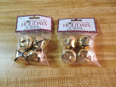 Lot of  8 ~ 1.5 Inch 35mm MATTE Gold Large Jingle Bells Christmas & Crafts