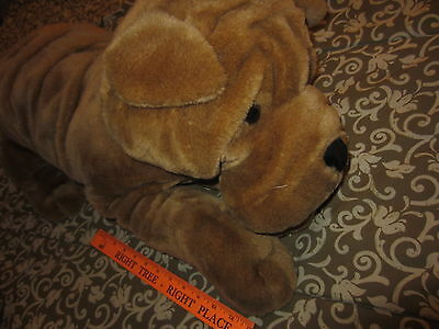 "Plush SHAR PEI Dog HUGE Laying Stuffed Animal Sharpei Wrinkle Puppy 28"" long"