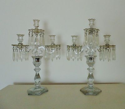 Pair 19c Antique Victorian Candelabra Glass Candle Holders w/ Prisms Lusters