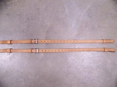 LEATHER LUGGAGE STRAPS for LUGGAGE RACK/CARRIER~(2) SET~STAINLESS STEEL BUCKLES
